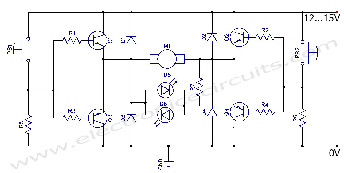 dc motor clockwise anticlockwise control h bridge circuit. Black Bedroom Furniture Sets. Home Design Ideas