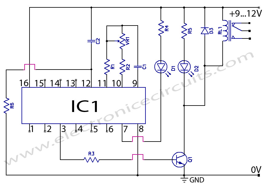 cd4060 timer circuit 1 minute to 2 hours allpcb com rh allpcb com 12Vdc Relay Wiring Diagram 4 Pin Relay Wiring Diagram