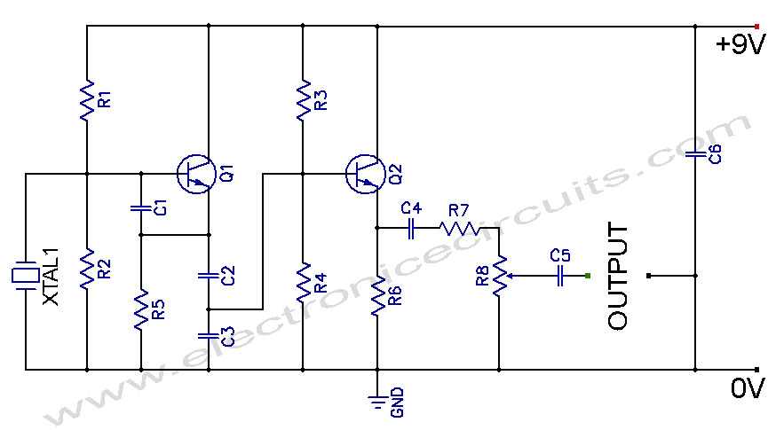Circuit Diagram Of Crystal Oscillator | Crystal Controlled Oscillator Circuit Allpcb Com